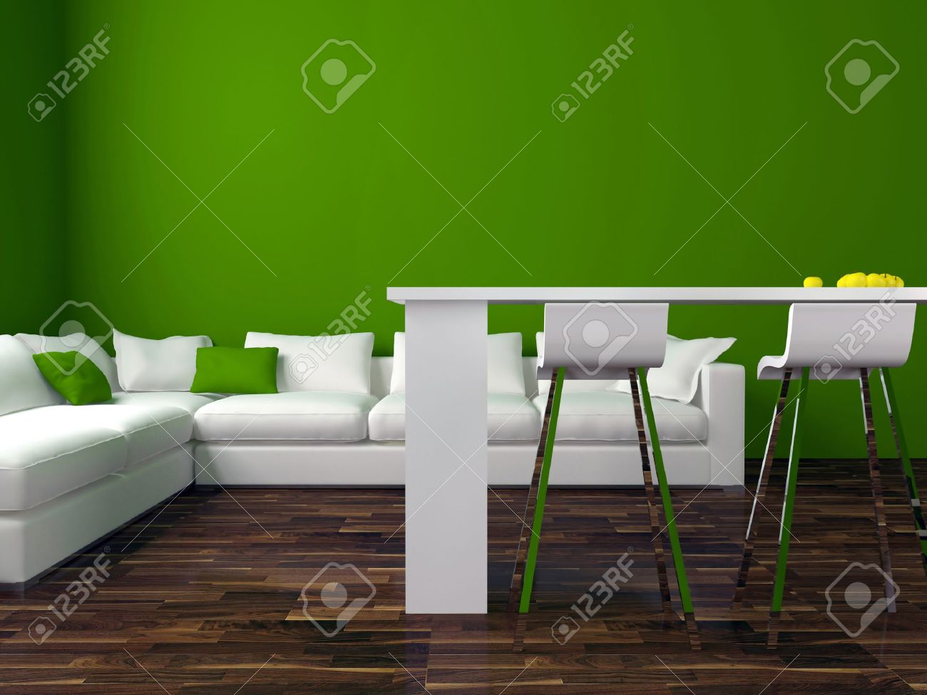 interior design of modern green living room with big white sofa, big lounge, 3d render Stock Photo - 15285206