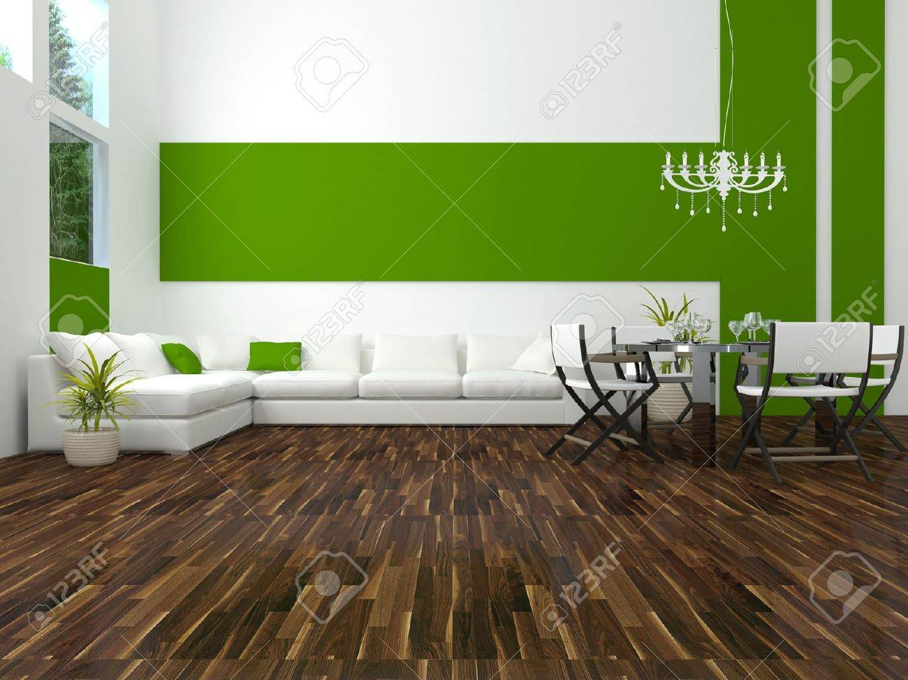 interior design of modern white and green dining room with big