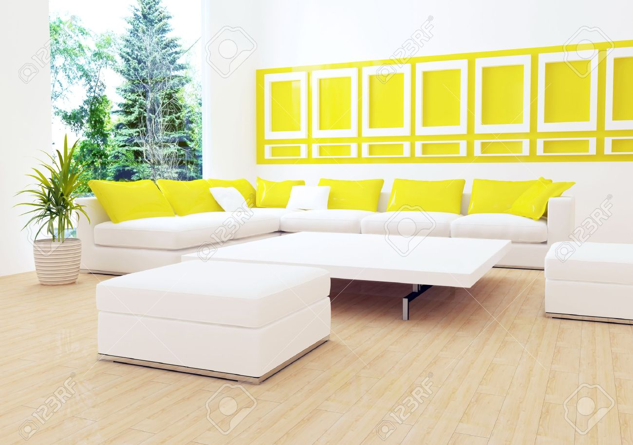 Interior Design Of Modern White Living Room With Big White Sofa, Big  Lounge, 3d