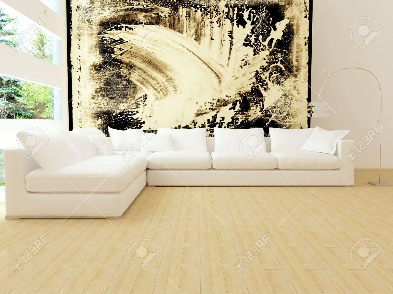 Inredning av moderna vita vardagsrum med stora vita soffa, stor ...