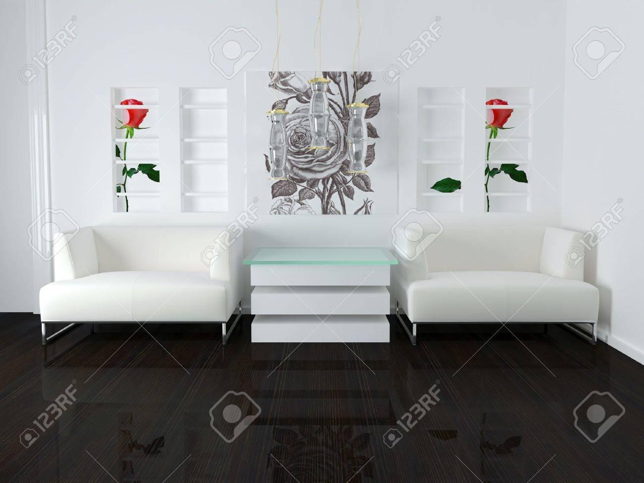 Inredning av vitt vardagsrum med moderna möbler, fin inredning, 3d ...