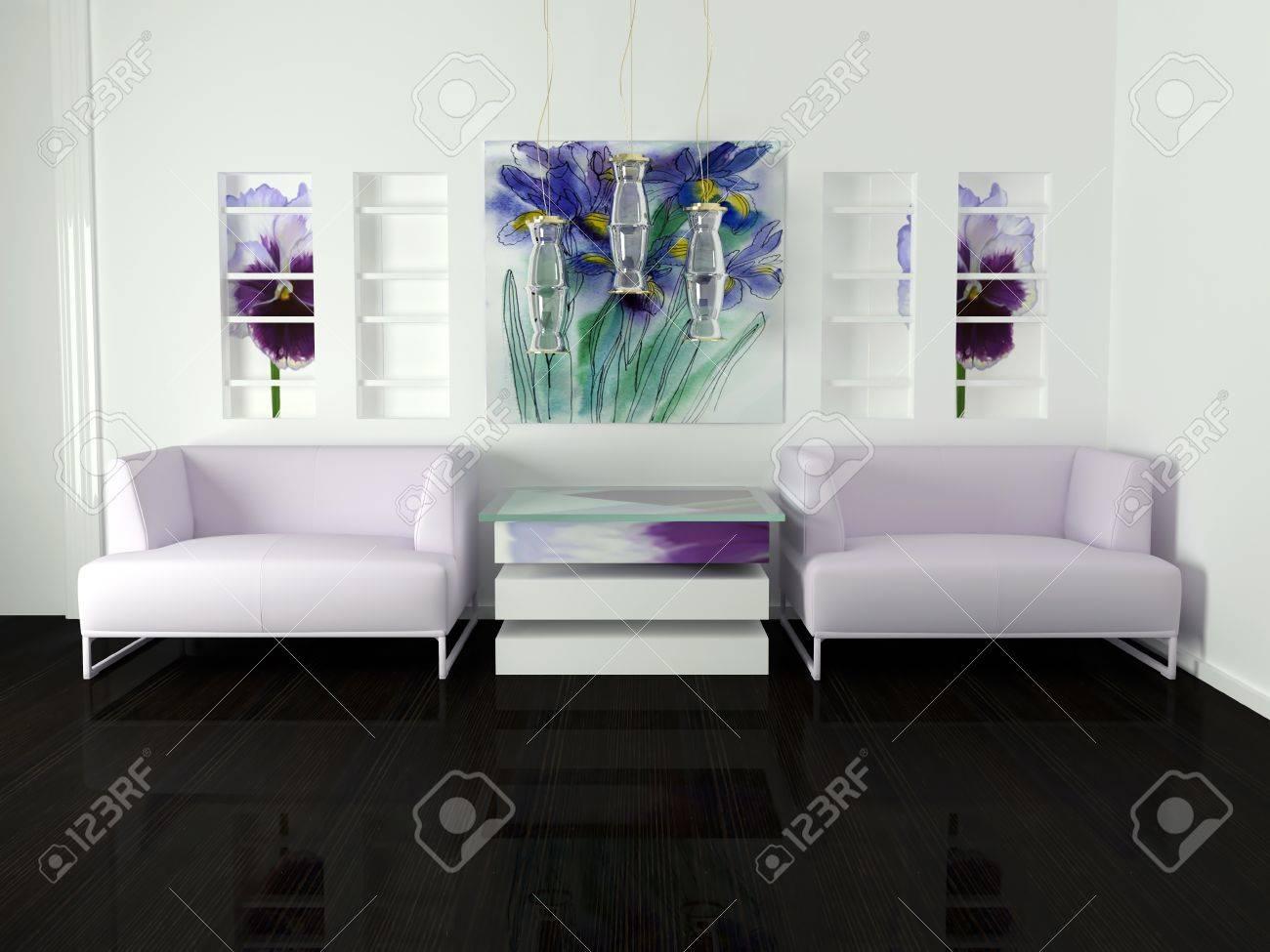 Design D\'intérieur De Salon Blanc Avec Un Mobilier Moderne, Joli ...