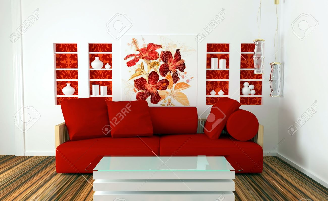 Interior Design Of White And Red Living Room With Modern Furniture, Nice  Decor, 3d