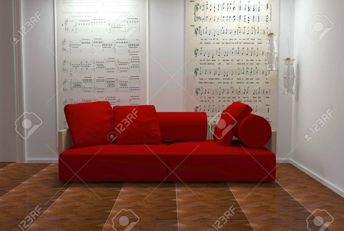 Diseño Interior De Sala De Estar Blanco Y Rojo Con Muebles Modernos ...