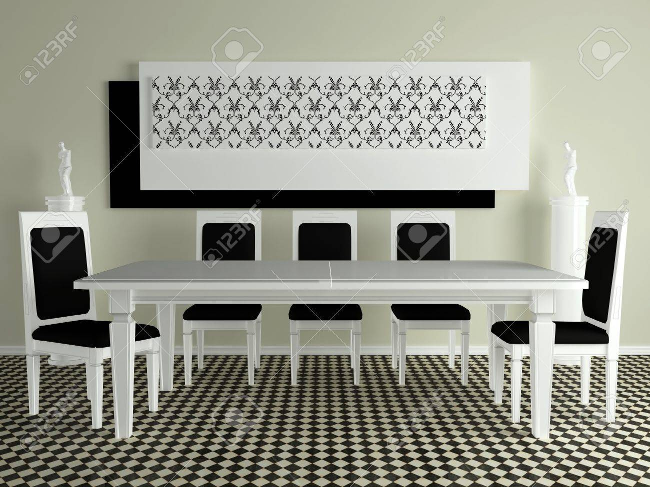 Mesa De Comedor Clásico Blanco Con Sillas, Diseño De Interiores De ...