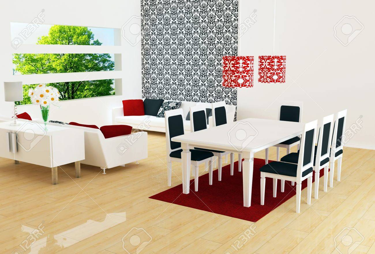 Interior Design Of Modern White Living Room With Big White Sofas And Dinig  Table, Big