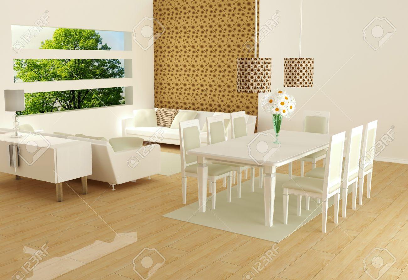 Diseño interior moderno de sala de estar blanco con grandes sofás blancos y  una mesa de comedor, sala de estar grande, render 3d