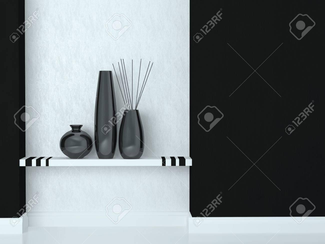 Décoration Salon Moderne Noir Et Blanc tir détail de la décoration salon moderne. noir et blanc design d'intérieur.