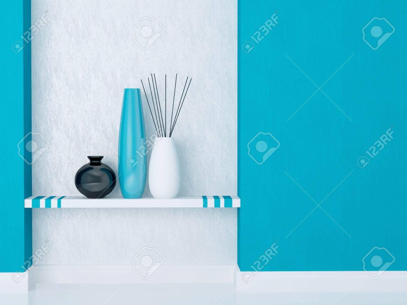 dettaglio colpo di arredamento moderno soggiorno. blu e bianco di ... - Soggiorno Blu E Bianco