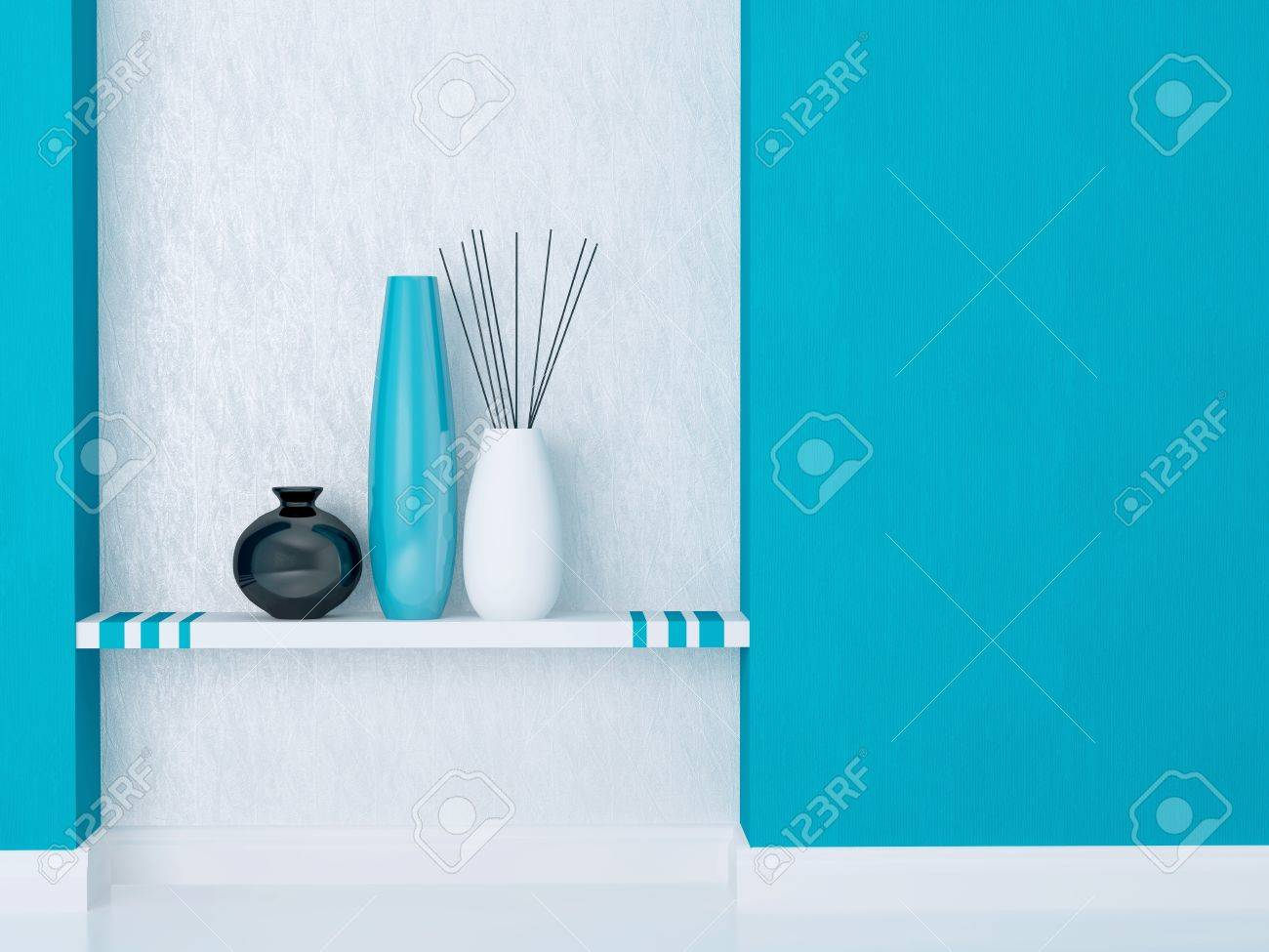 Detail shot of modern living room decor. Blue and white interior design. Stock Photo - 16924115