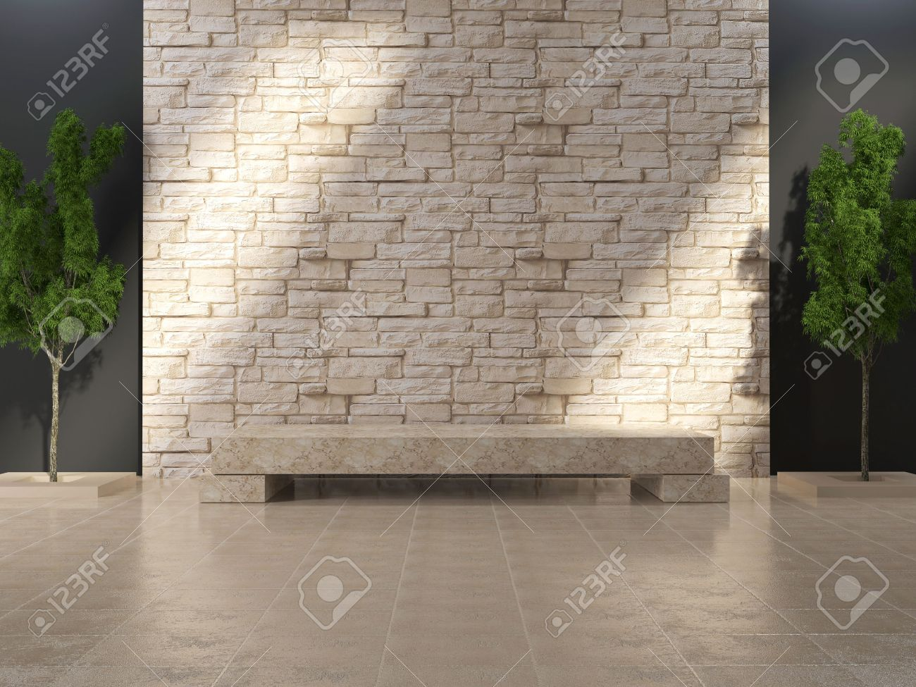 Mur En Pierre Interieur Beige grunge intérieur moderne avec banc de marbre et le mur de pierre.