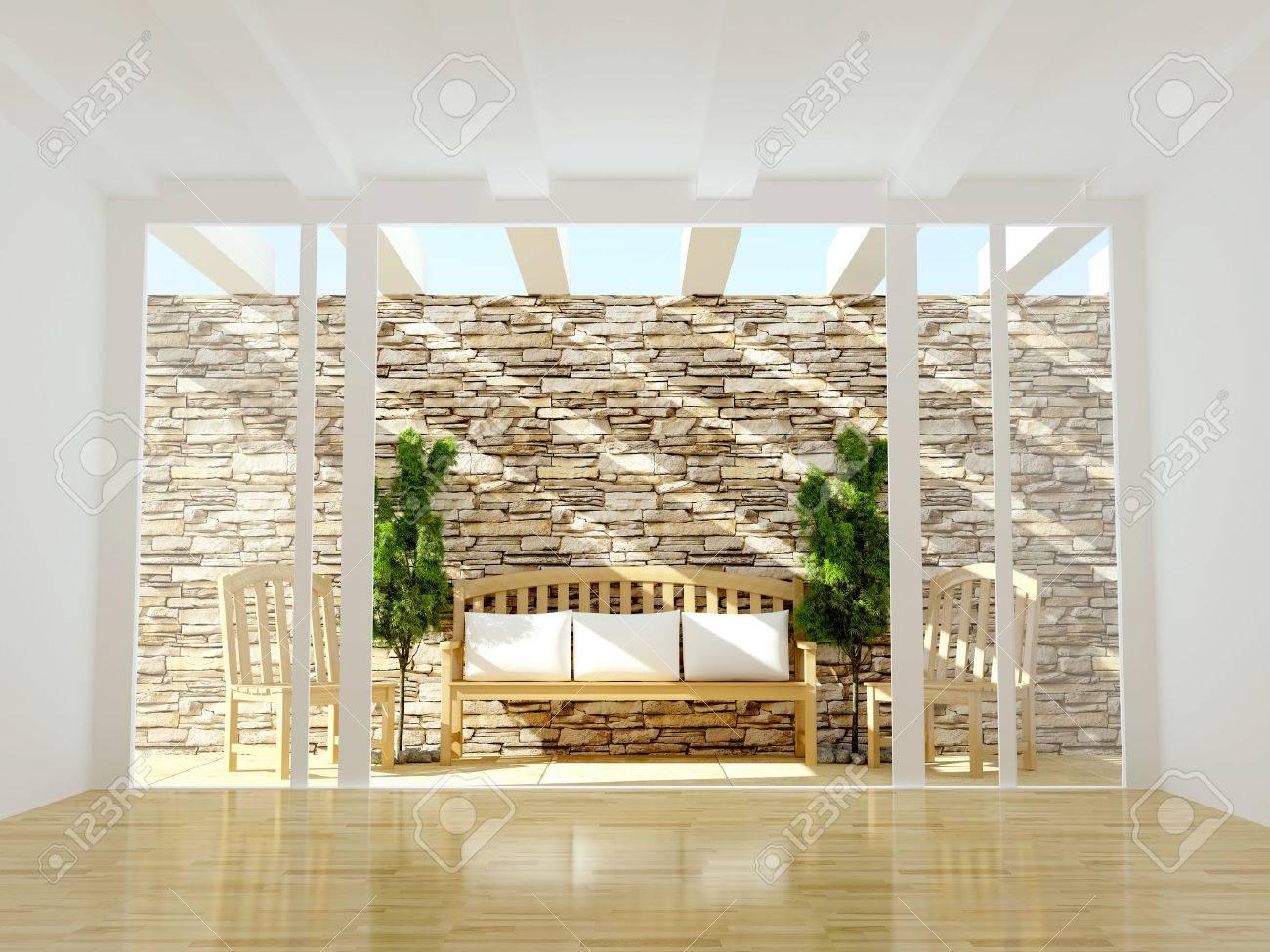 Diseño De Interiores Hermosa Terraza Con Muebles De Madera