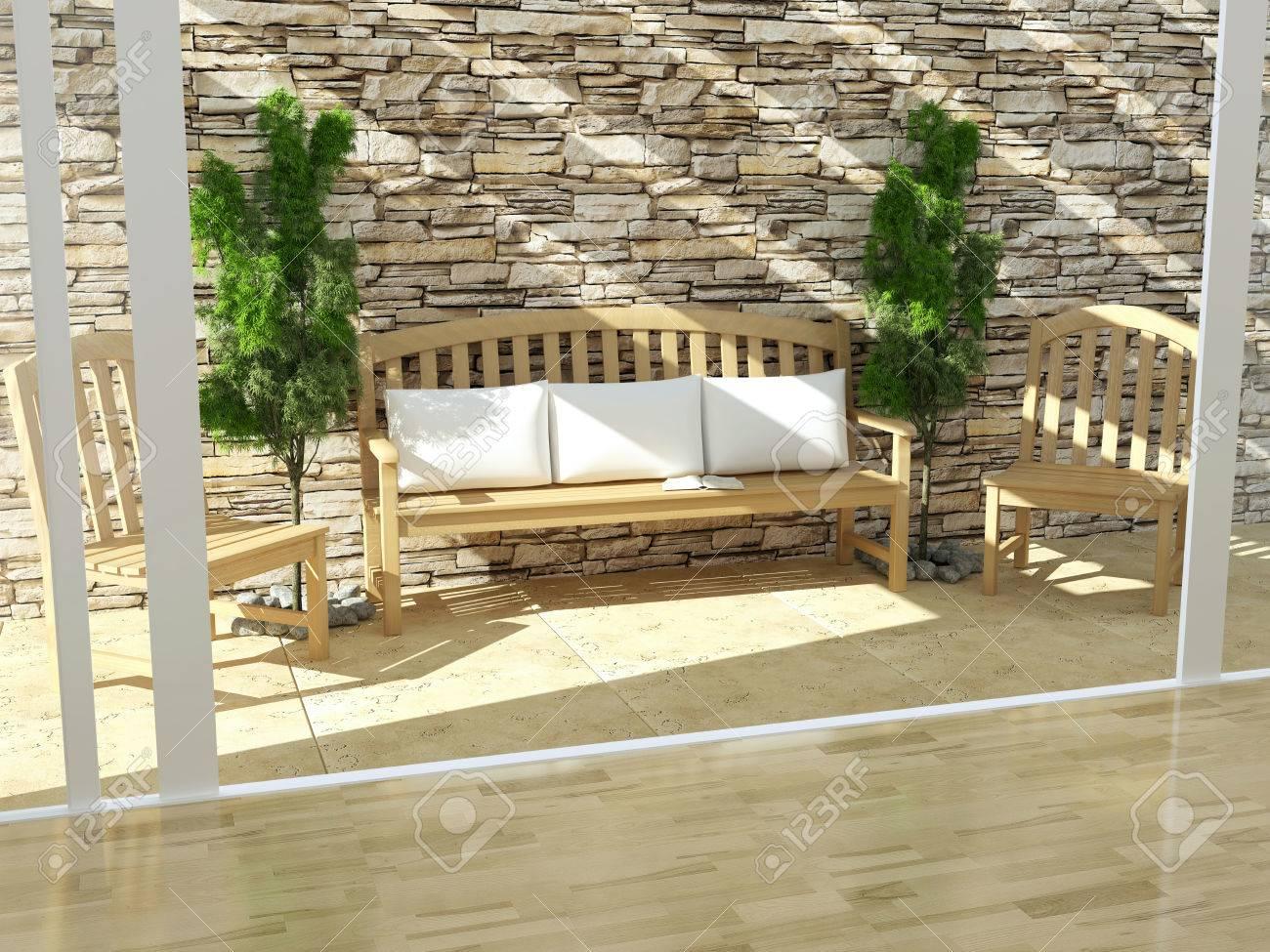 Schöne Offene Terrasse Mit Holzmöbeln Und Steinwand Exterieur Design