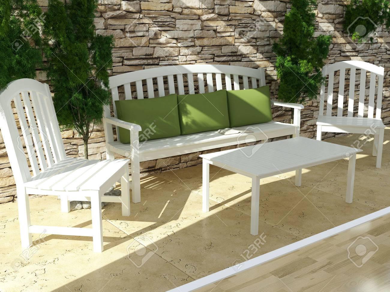 Hermosa Terraza Abierta Con Muebles De Madera Blanca Y Pared De Piedra De Diseño Exterior