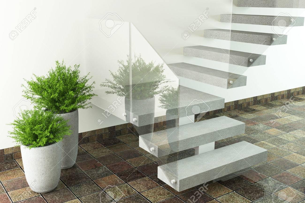 Moderne innenarchitektur fotos  Luxus-Zimmer Mit Treppen Und Pflanzen. Moderne Innenarchitektur ...