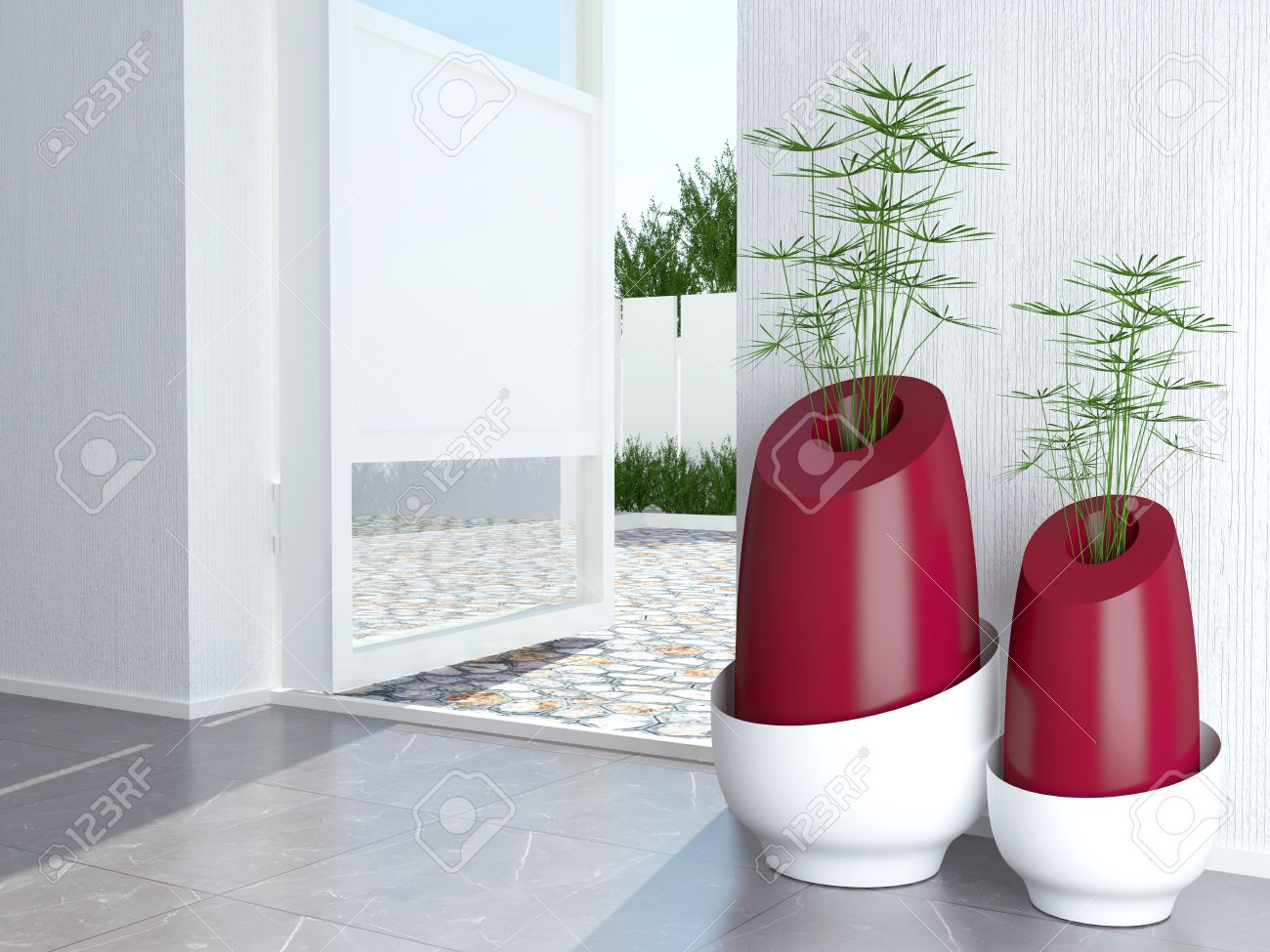 two contemporary vases on the floor near open door modern  - two contemporary vases on the floor near open door modern interior designstock photo