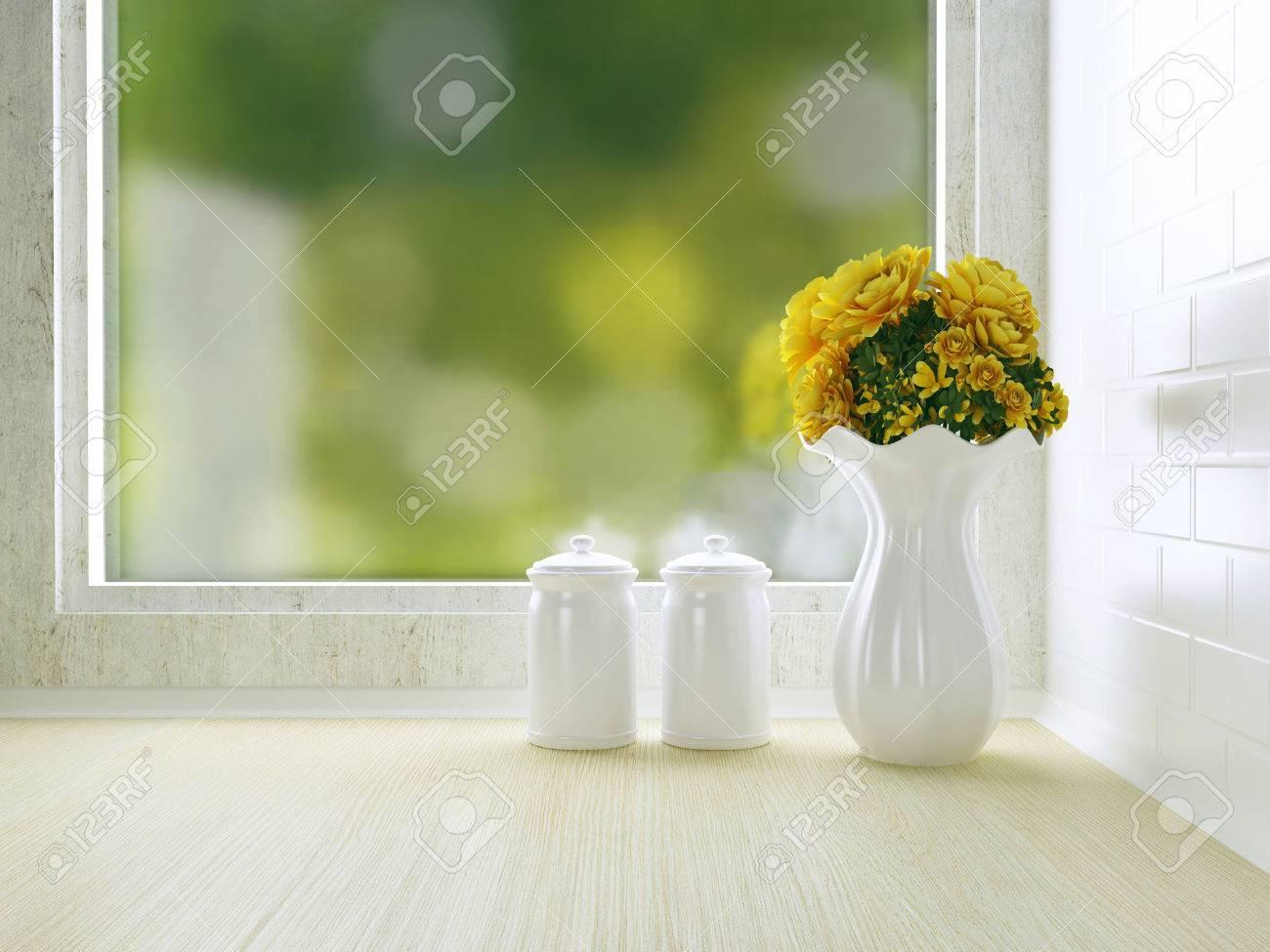 Keramisch tafelgerei op de houten werkblad. witte keuken ontwerp ...