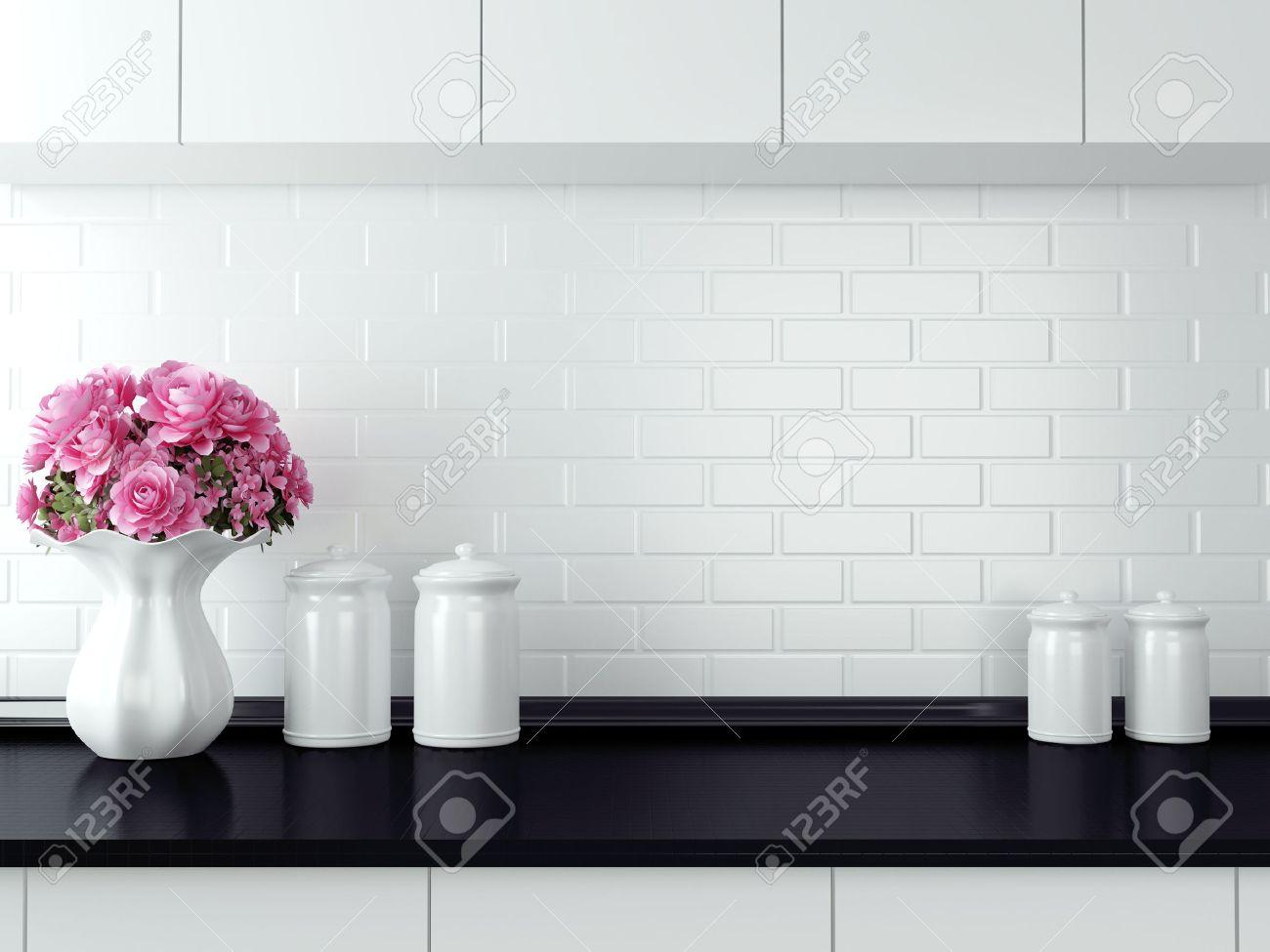 Bords på bänkskivan. svart och vitt kök design. royalty fria ...