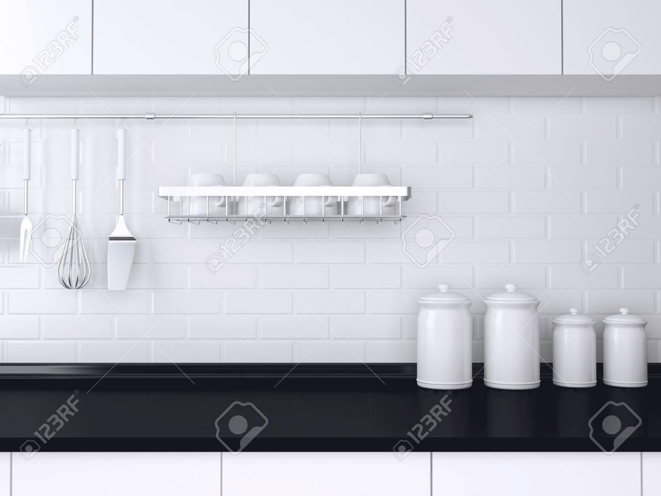Utensilien Und Geschirr Auf Der Arbeitsplatte. Schwarz-Weiß-Küche ...