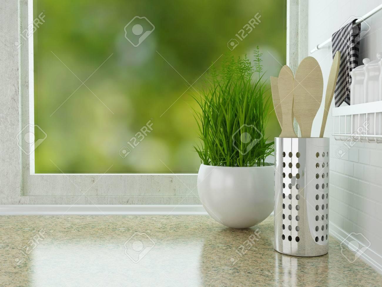 Houten gebruiksvoorwerpen op het marmeren werkblad. witte keuken ...