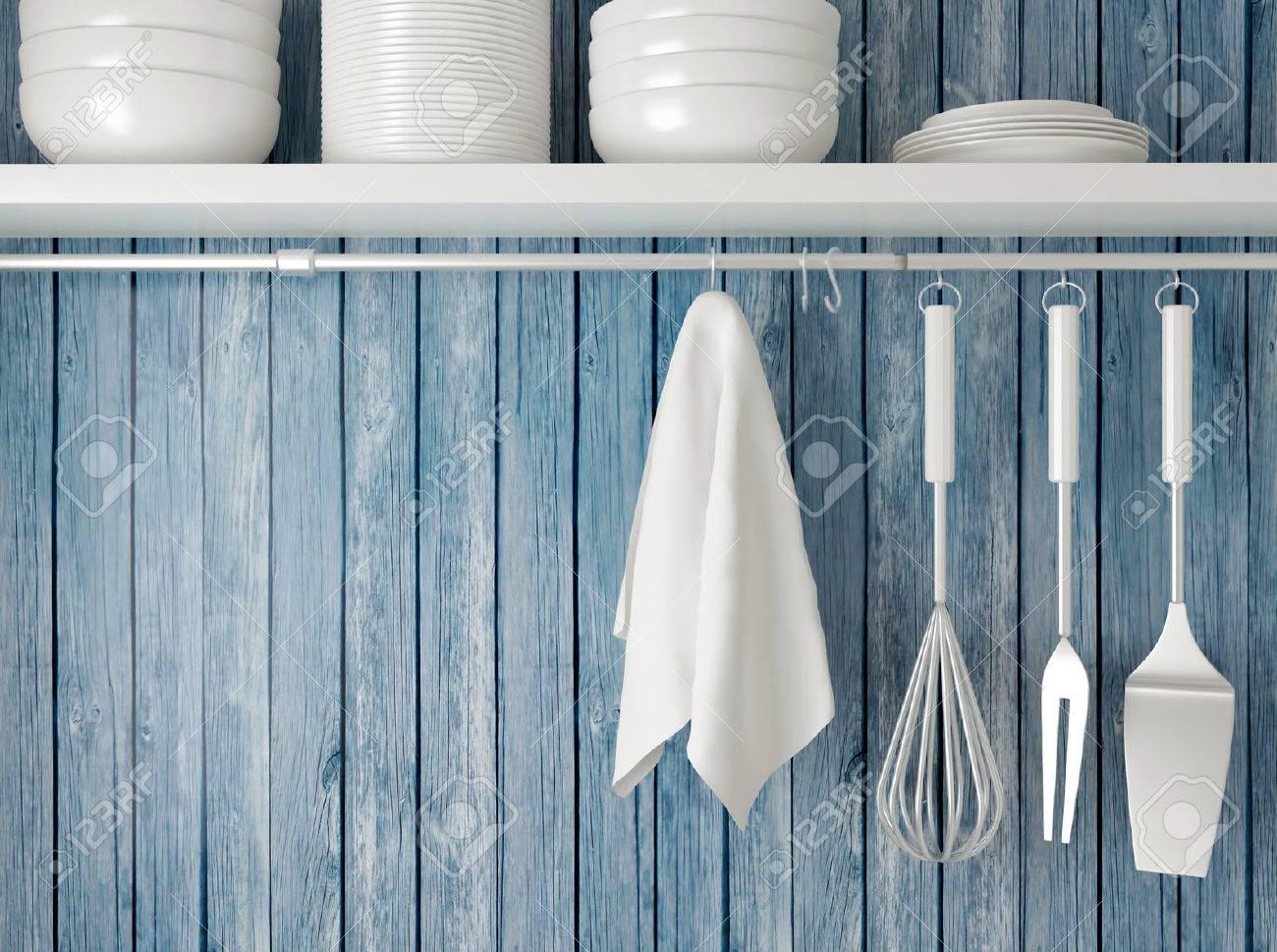 White Plates On The Shelf, Kitchen Cooking Utensils. Steel Spatulas ...