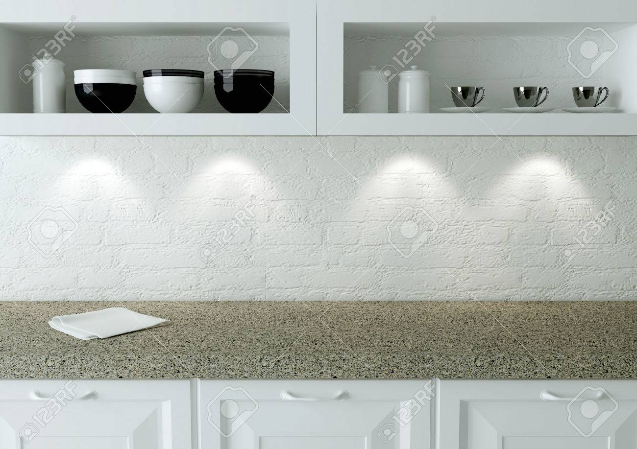 Ceramic Kitchenware On The Shelf Marble Worktop White Kitchen