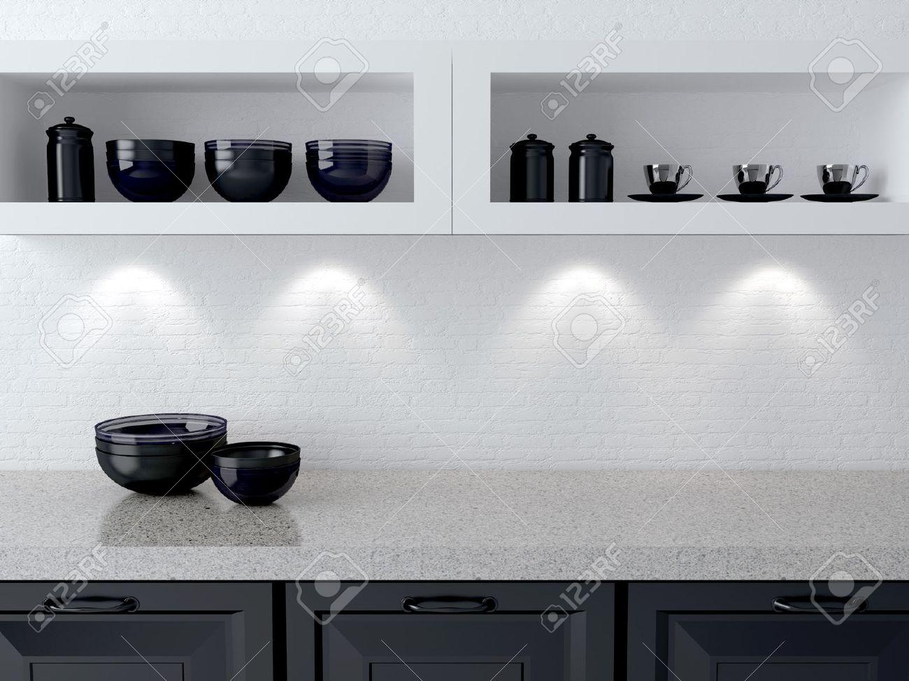 Keramisch keukengerei op de plank. marmeren werkblad. witte en ...