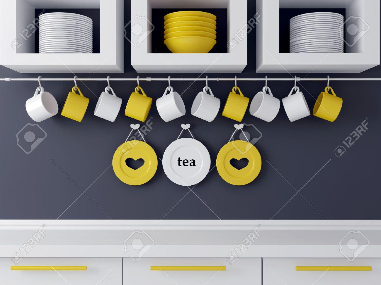 Moderne Kuche Design Mit Weissen Mobeln Keramik Geschirr Im Regal