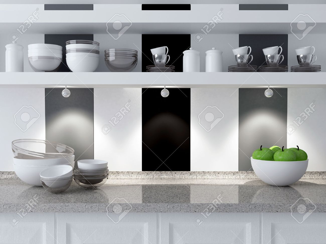 Modern Kitchen Design Ceramic Kitchenware On The Marble Worktop Plates Cups On The