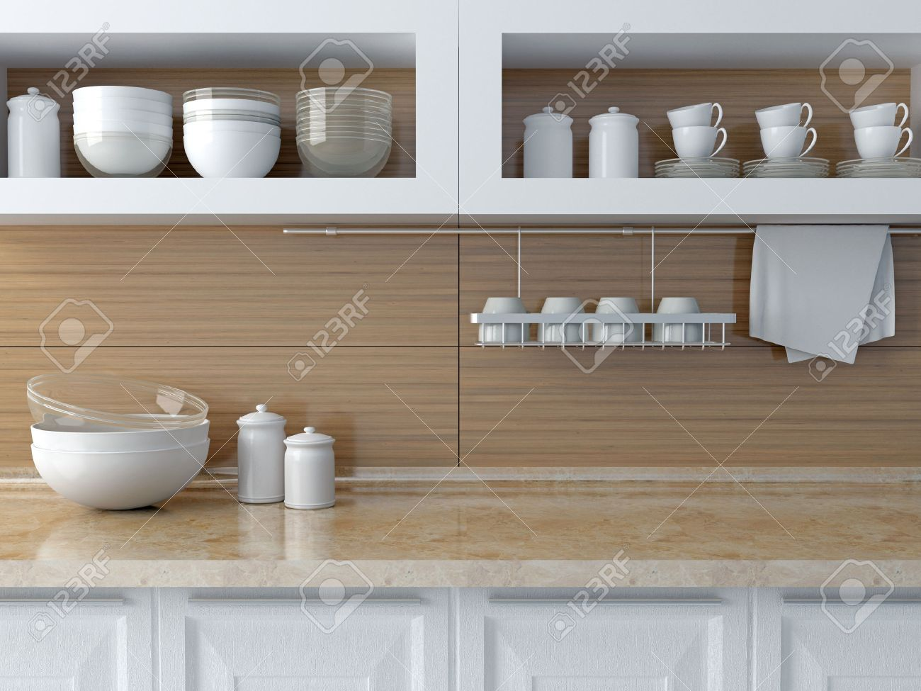 Moderne Küche Design. Weiße Keramik Geschirr Auf Dem Marmor ...