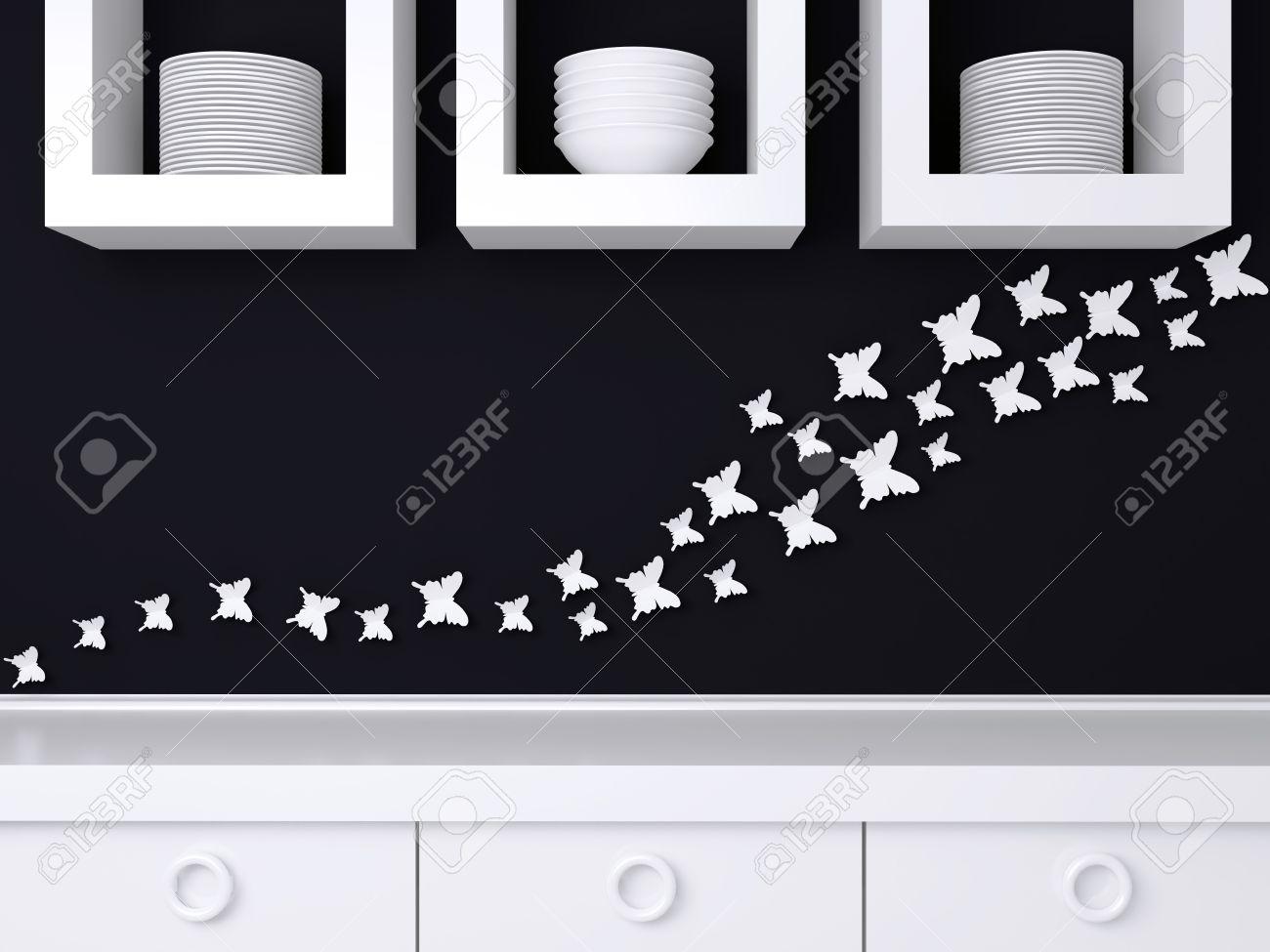 Moderne Weisse Und Schwarze Kuchengestaltung Keramik Geschirr Im Regal Schmetterling Dekor An Der Wand Lizenzfreie Fotos Bilder Und Stock Fotografie Image 32451725