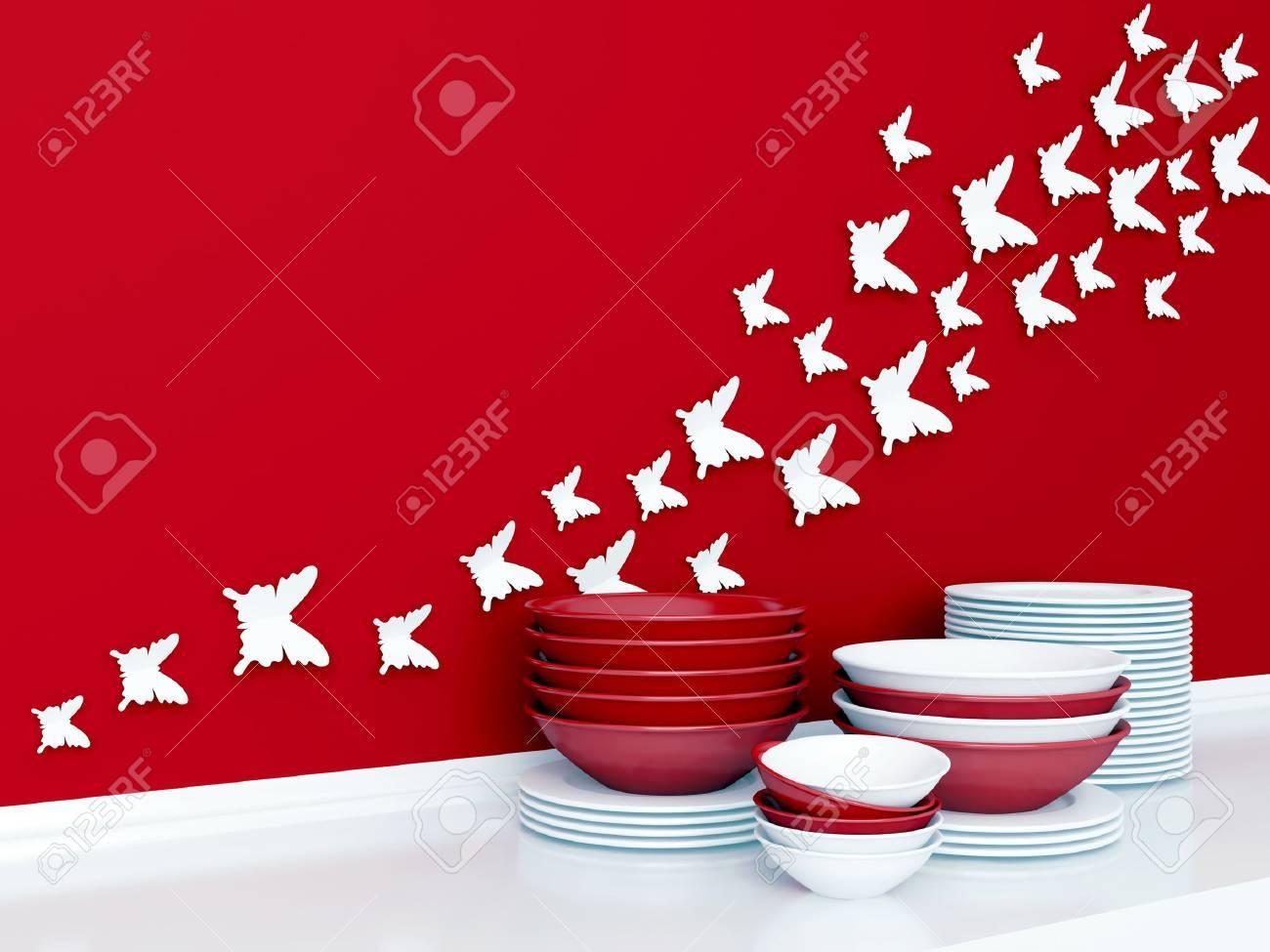 Moderne Weisse Und Rote Kuchengestaltung Keramik Geschirr Im Regal Schmetterling Dekor An Der Wand Lizenzfreie Fotos Bilder Und Stock Fotografie Image 32451729