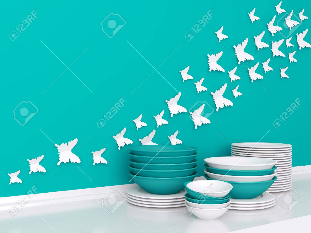 Modern White And Blue Kitchen Design. Ceramic Kitchenware On.. Stock ...