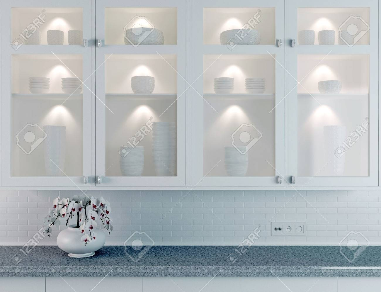 White Kitchen Design, Orchid On The Marble Worktop. Ceramic ...
