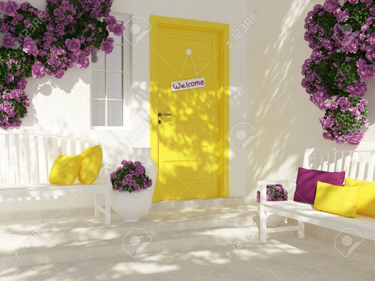 Vista Frontal De La Puerta En Una Casa Blanca Con Ventana. Rosas ...