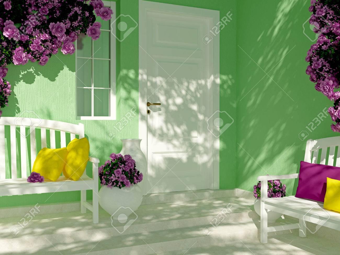Vista Frontal De La Puerta En Una Casa Verde Con Ventana. Rosas ...