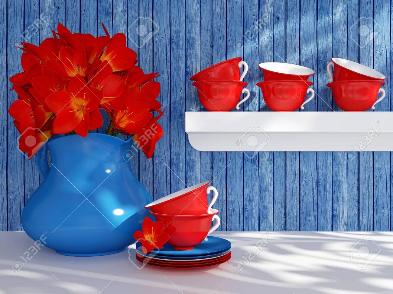 Keuken stilleven. keramische vaas met rode bloemen en thee bekers ...