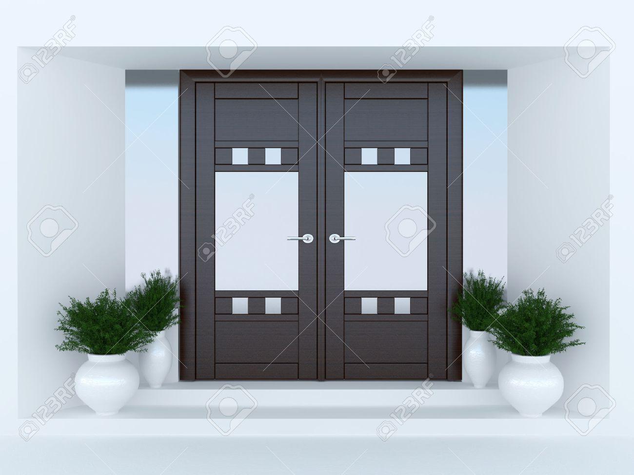 Porte De Maison Moderne porte d'entrée en bois de la maison moderne. banque d'images et