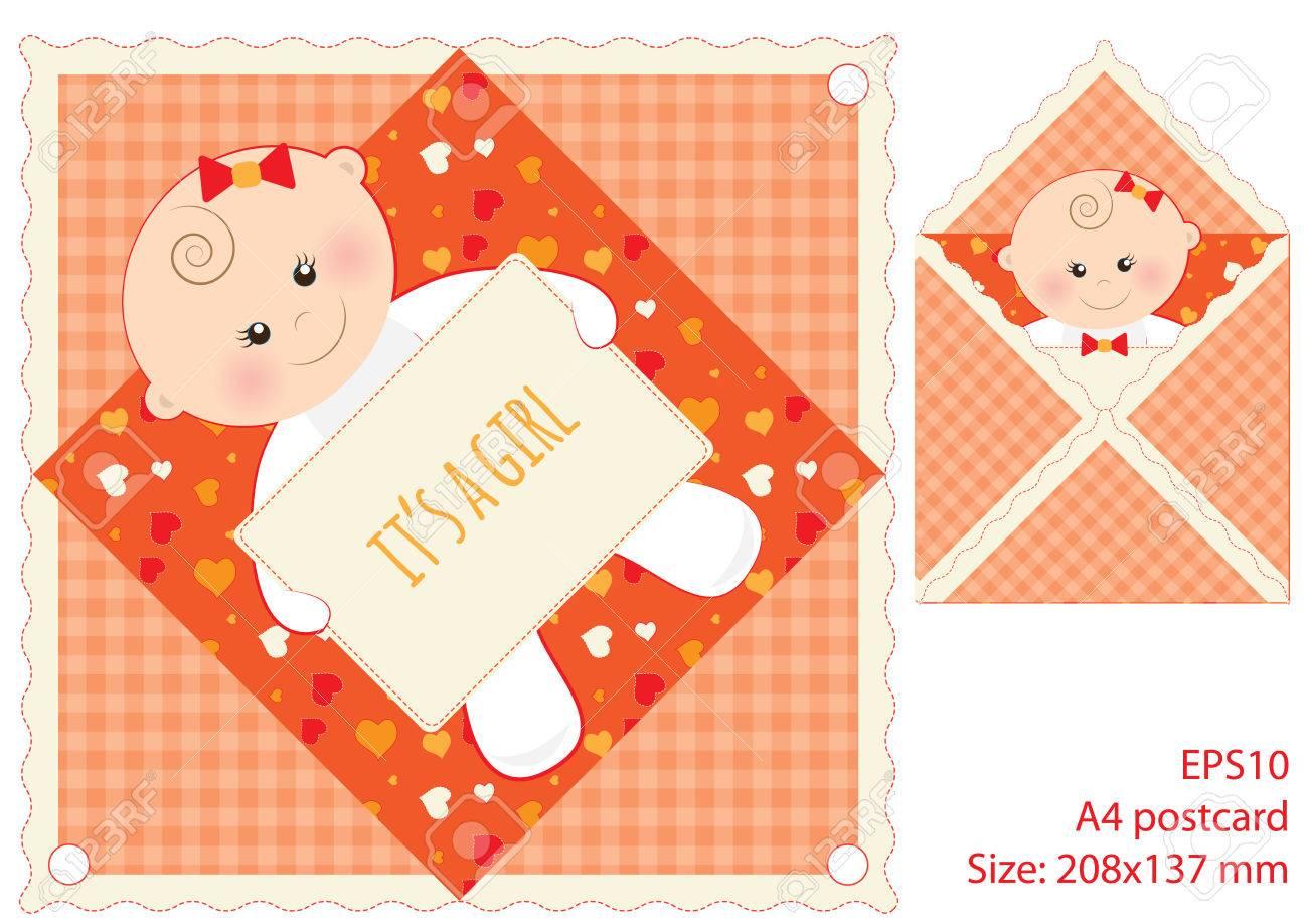 Tarjeta Roja Para El Día De La Madre Es Una Niña Chica, Vector Con ...