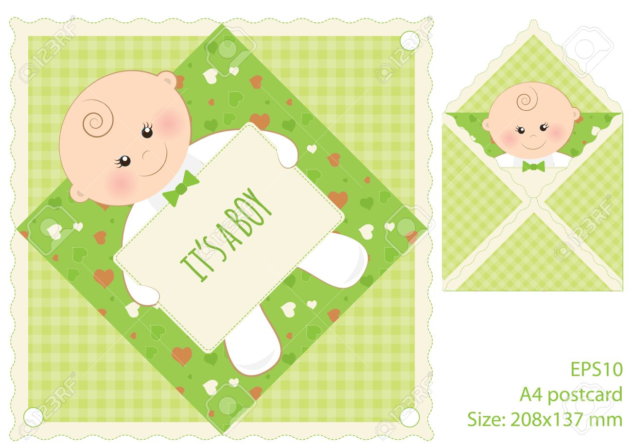 Green Card Its A Boy Vector Baby Boy With Text Frame On Lovely