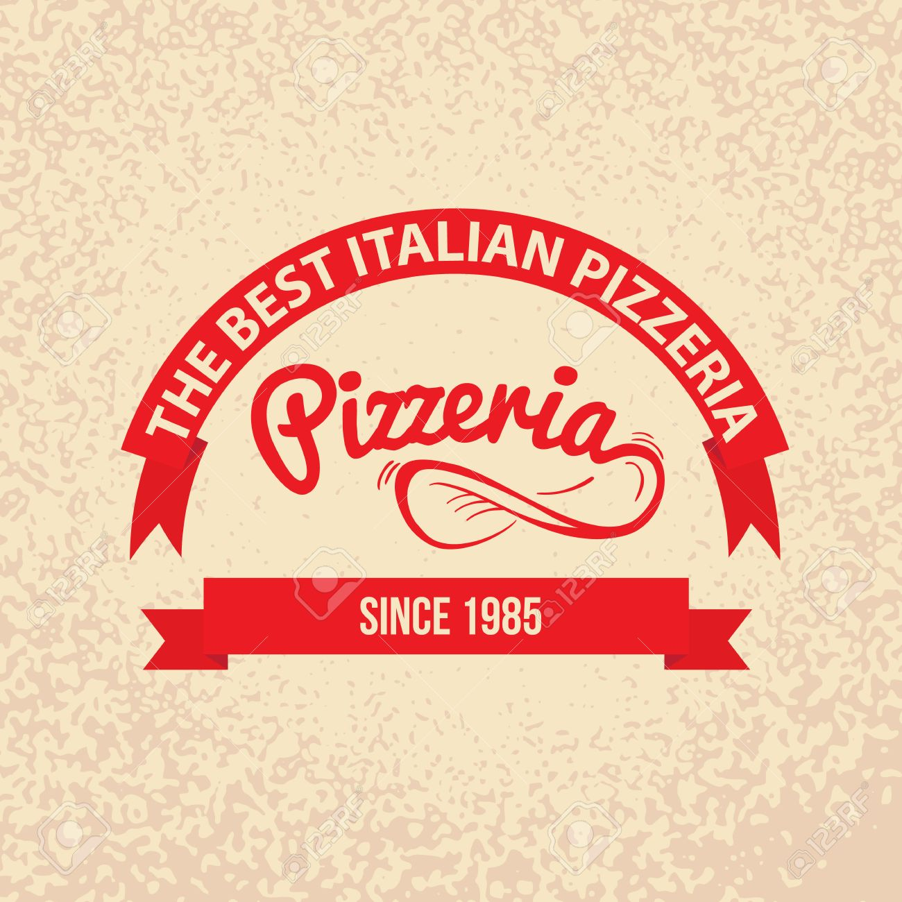 Italian Cuisine Retro Vintage Labels Logo Design Hand Drawn