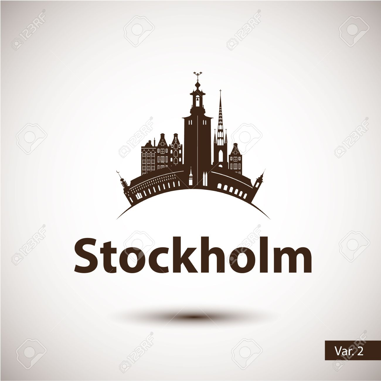 Stockholm Sweden. Nordic capital. City skyline silhouette. Vector illustration. Icon for travel agency. - 50924760