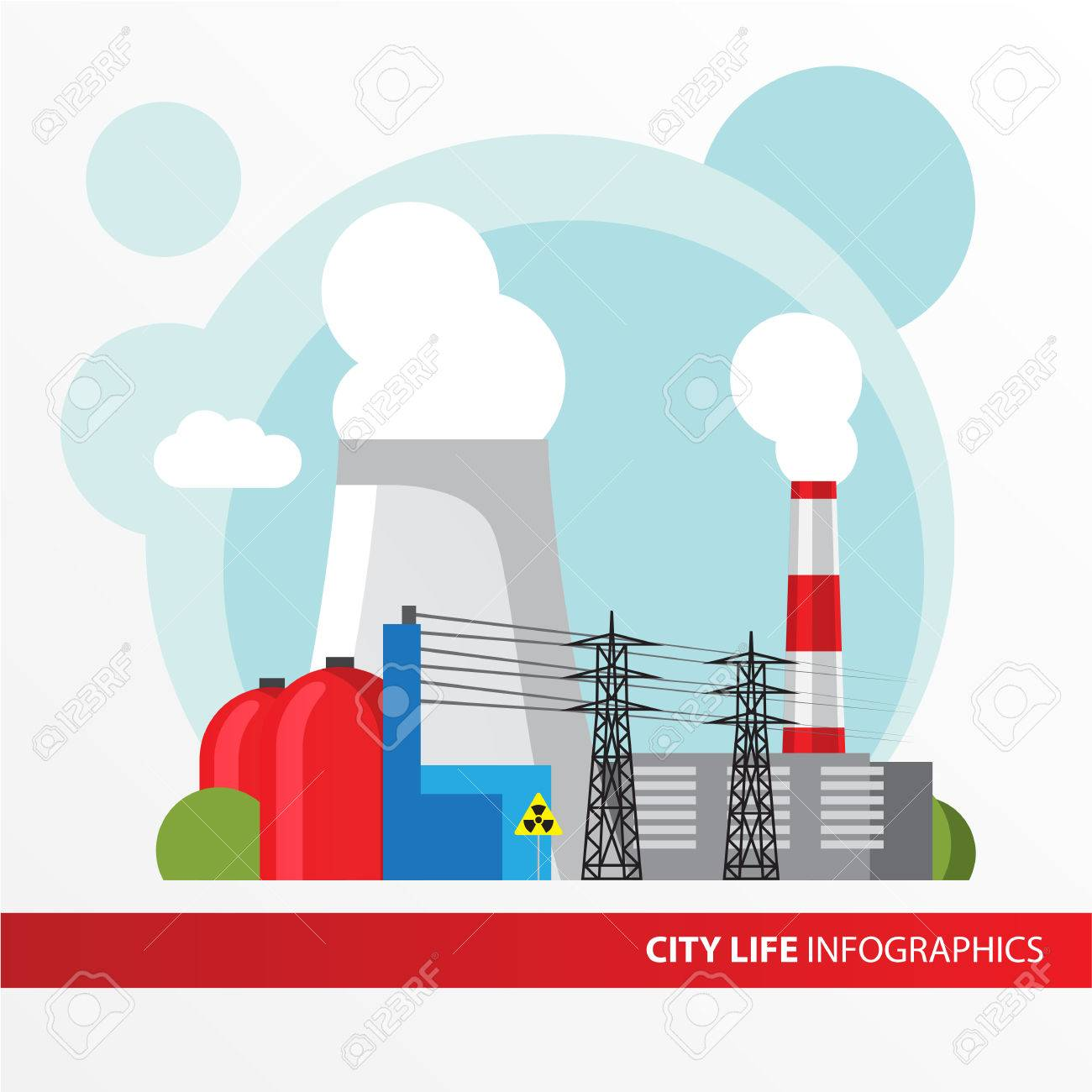 Nuclear Power Plant Colorful Illustration In A Flat Style City Infographics Set All Types Of Power Stations System With Transmission Tower Nuclear Reactor And Cooling Tower Royalty Free Cliparts Vetores E Ilustracoes