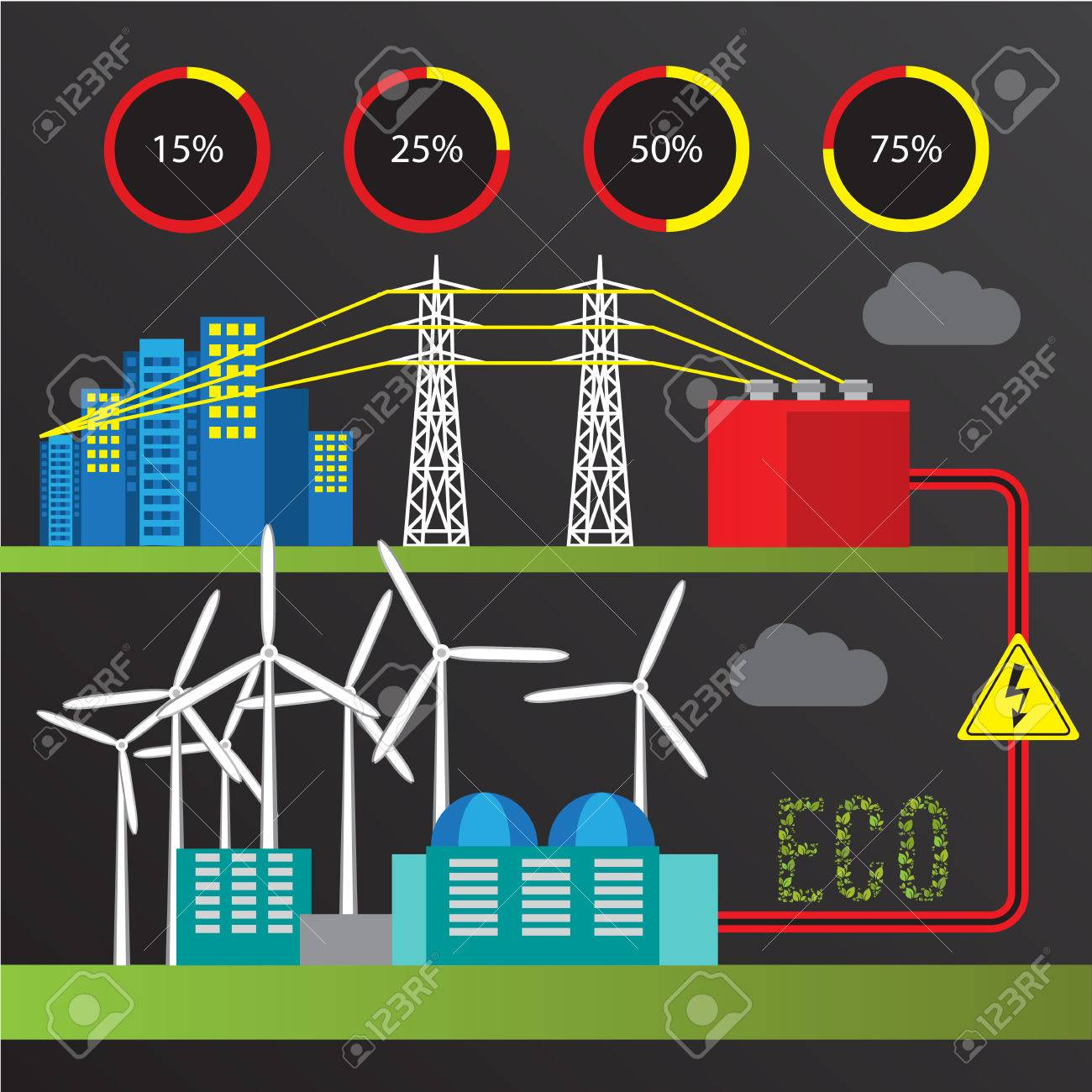 Wind Power Station. Colorful Illustration In A Flat Style. City ...