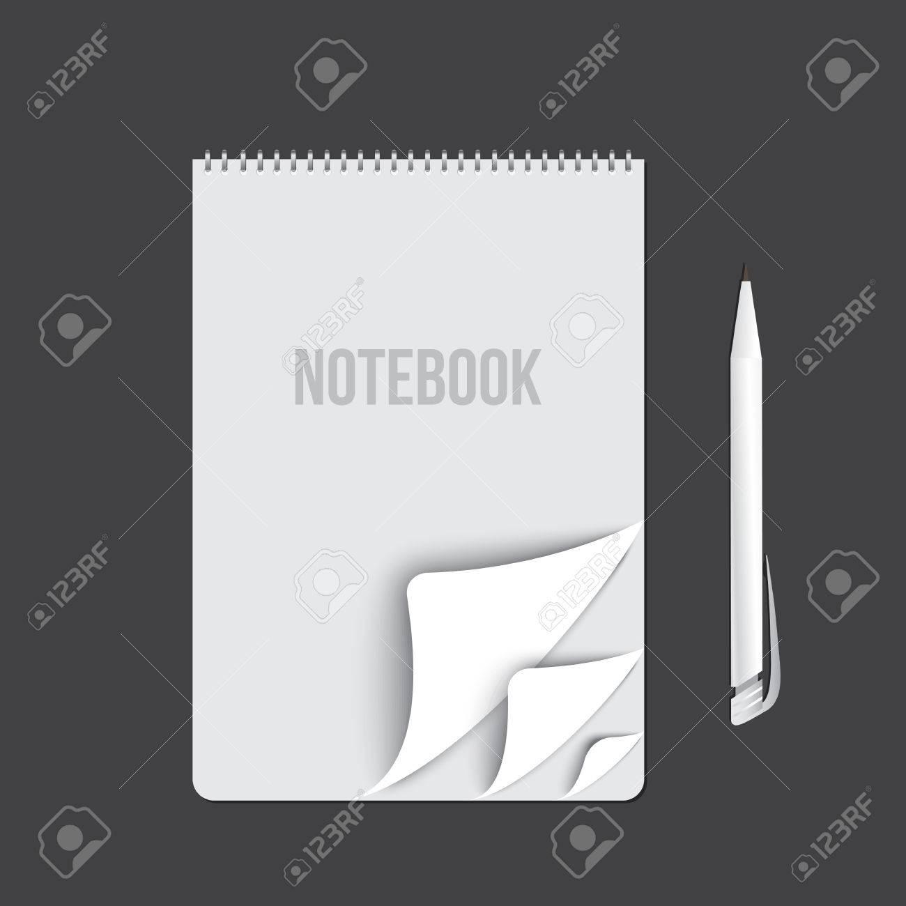 Business-Notebook Auf Dunklem Hintergrund. Leere Seiten. Vorlage Für ...