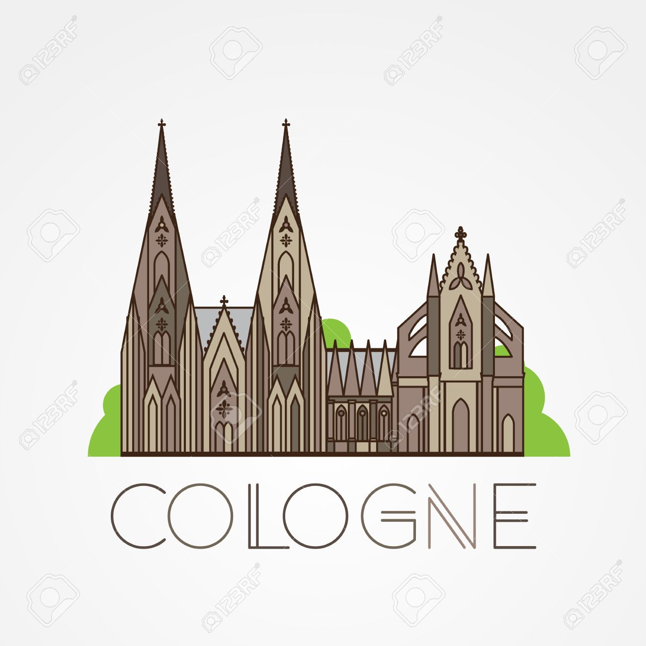 World Famous Cologne Cathedral Greatest Landmarks Of Europe Royalty Free Cliparts Vectors And Stock Illustration Image 59929019