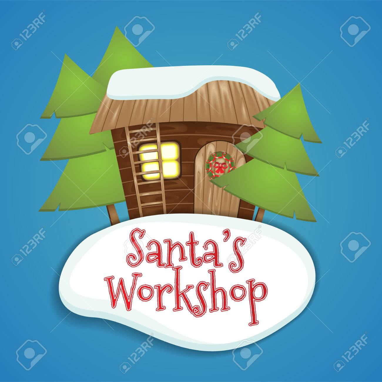 Carte De Voeux De Noël Père Noël Faisant Des Cadeaux De Noël à L Atelier Du Père Noël La Maison En Bois Avec Une échelle Et Une Couronne De Noël La