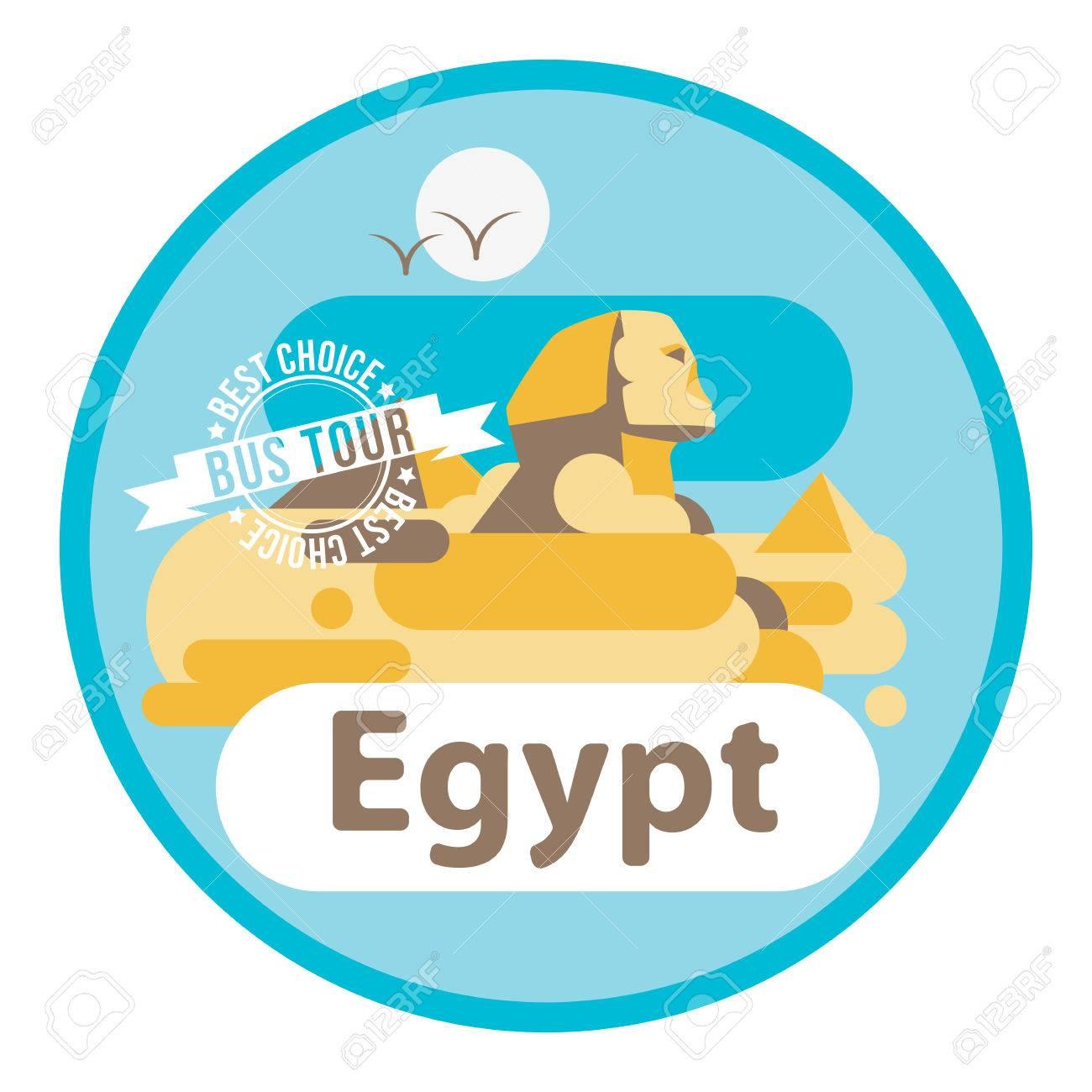 Pyramid and sphinx the symbols of cairo welcome to egypt concept pyramid and sphinx the symbols of cairo welcome to egypt concept flat vector art biocorpaavc Gallery