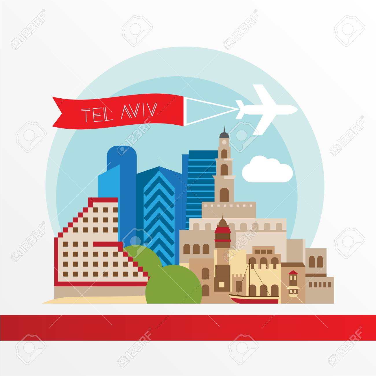 Tel Aviv, detailed silhouette. Trendy vector illustration, flat style. Stylish colorful landmarks. The concept for a web banner. Jaffa Portr - The symbol of Israel. - 114725498