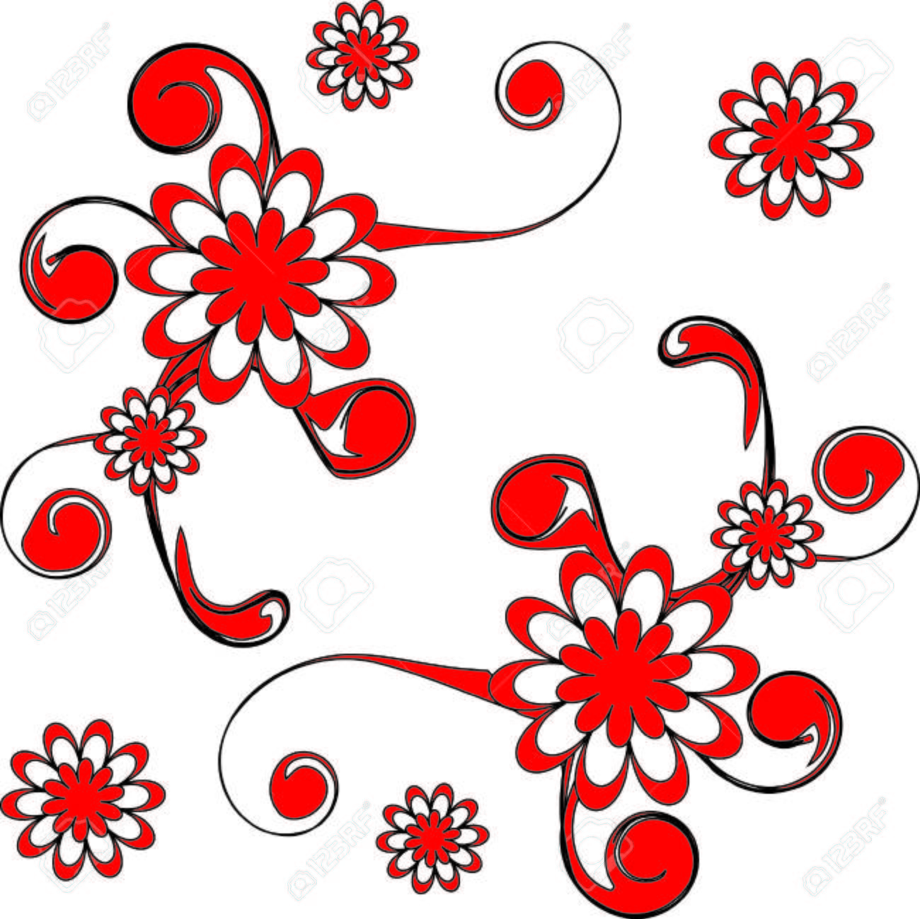 The Bright red flowerses. Much beautiful daisywheels. Stock Vector - 6197602